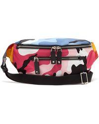 Valentino - Camouflage Print Nylon Belt Bag - Lyst