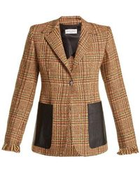 Sonia Rykiel - Leather-pocket Wool-blend Tweed Blazer - Lyst