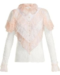 c860a63caa86e6 Lyst - Rodarte Black And Orange Lace Sleeve Silk Floral Blouse