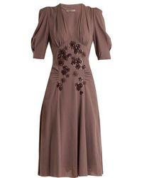 Bottega Veneta - Embellished V-neck Silk-georgette Dress - Lyst