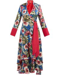 F.R.S For Restless Sleepers - Hydros Floral Print Satin Wrap Dress - Lyst
