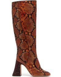 Rochas - Pascal Glitter-heel Faux-python Knee-high Boots - Lyst
