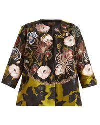 Biyan - Kinn Floral-jacquard Cropped Jacket - Lyst