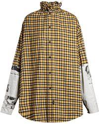 Balenciaga - Oversized Checked Brushed Cotton Shirt - Lyst