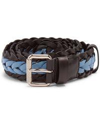 Prada - Two Tone Braided Leather Belt - Lyst