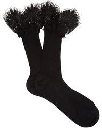 Raey - Lace-trimmed Silk Socks - Lyst