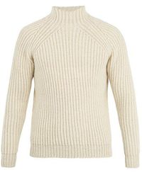 De Bonne Facture - High-neck Ribbed-knit Wool Sweater - Lyst