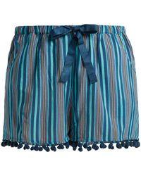 Figue - Maja Striped Pompom-hem Shorts - Lyst