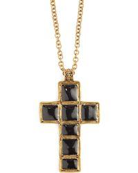Gucci - Enamelled Cross Pendant Necklace - Lyst
