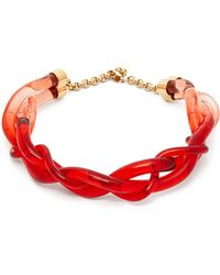 Marni Twisted Plexi Necklace - Red