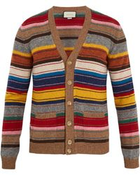 Gucci - V-neck Striped Wool Cardigan - Lyst