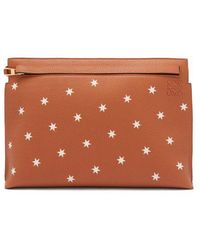 Loewe - T Star-print Leather Pouch - Lyst