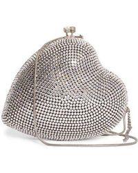 Saint Laurent - Love Box Crystal-embellished Leather Clutch - Lyst