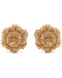 Rebecca de Ravenel - Ava Crystal-embellished Rose Earrings - Lyst