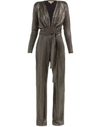 Melissa Odabash - Look 4 Metallic Stripe Belted Jumpsuit - Lyst