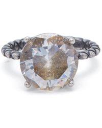 Bottega Veneta - Cubic Zirconia And Silver Intrecciato Ring - Lyst