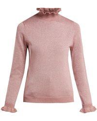 Shrimps - Robin Ruffle-collar Lurex-knit Jumper - Lyst