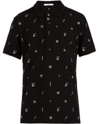 Givenchy - Embroidered Motif Cotton Polo Shirt - Lyst