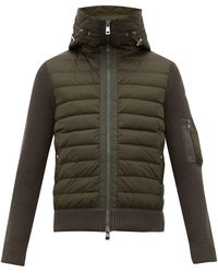 Moncler Hooded Quilted And Knitted Cardigan - Green