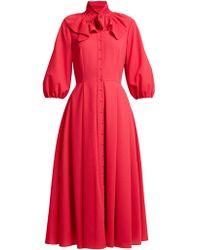 Emilia Wickstead - Hilary Shirred-neck Balloon-sleeved Dress - Lyst
