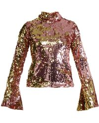 Halpern - Sequin-embellished High-neck Top - Lyst