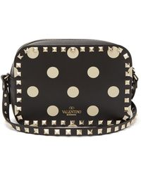 Valentino - Rockstud Polka-dot Leather Camera Bag - Lyst