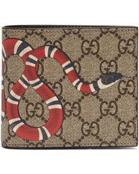 c8f70749b0718d Gucci Kingsnake Print GG Supreme Coin Wallet in Brown for Men - Lyst