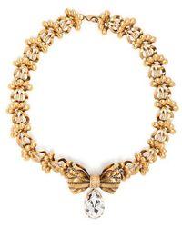 Rodarte - Crystal-embellished Bow Brass Necklace - Lyst