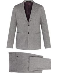 a2fc32f13db2b9 Paul Smith Men's Slim-fit Damson And Navy Check Wool And Linen-blend ...