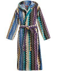 Missoni - Zigzag Hooded Cotton Robe - Lyst
