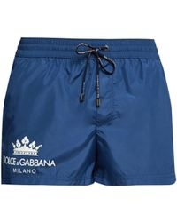 d68a98f5f814e Dolce   Gabbana Majolica Print Swim Shorts in Blue for Men - Lyst