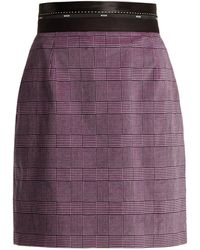 MSGM - Prince Of Wales Check Stretch-cotton Velvet Skirt - Lyst
