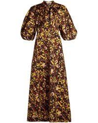 Marni - Floral-print Tie-neck Cotton Dress - Lyst