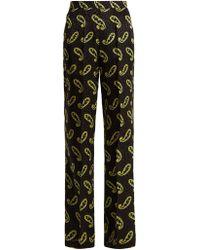 Etro - Wide Leg Paisley Print Silk Jacquard Trousers - Lyst