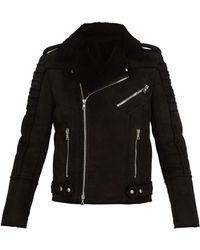 Balmain - Shearling And Suede Biker Jacket - Lyst
