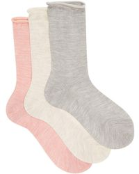 Raey - Set Of Three Roll-top Silk Socks - Lyst