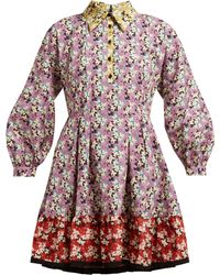 Valentino - Spring Garden Print Collared Cotton Dress - Lyst