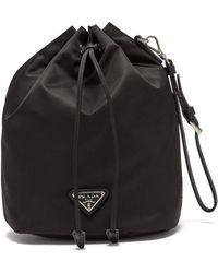 Prada - Leather Trimmed Drawstring Nylon Wash Bag - Lyst