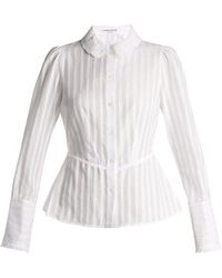 Sonia Rykiel - Broderie-anglaise Collar Striped Cotton Blouse - Lyst