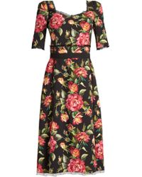 Dolce & Gabbana   Rose-print Tulle-trimmed Cady Dress   Lyst