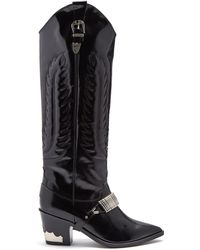 Toga - Buckle-strap Knee-high Leather Boots - Lyst
