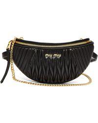 Miu Miu - Mattelassé-quilted Leather Belt Bag - Lyst