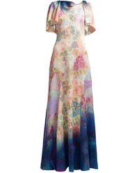 Peter Pilotto - Floral Print Silk Blend Dress - Lyst