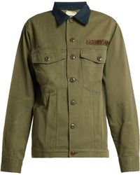 MYAR - Contrast Collar Cotton Blend Military Jacket - Lyst