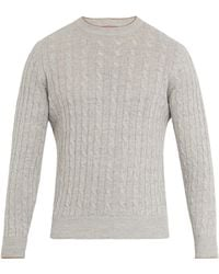 Brunello Cucinelli - Crew-neck Linen-blend Cable-knit Sweater - Lyst