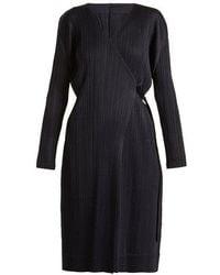 Pleats Please Issey Miyake - V-neck Wrap-style Pleated Robe Coat - Lyst
