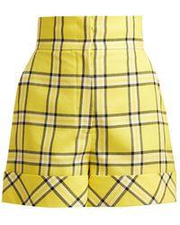 Sara Battaglia - High Waisted Checked Wool Shorts - Lyst