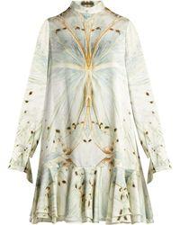 Alexander McQueen - Butterfly Print Silk Mini Dress - Lyst