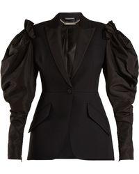 Alexander McQueen - Contrast Sleeve Wool Blend Blazer - Lyst