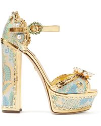 Dolce & Gabbana - Keira Jacquard Brocade Platform Sandals - Lyst